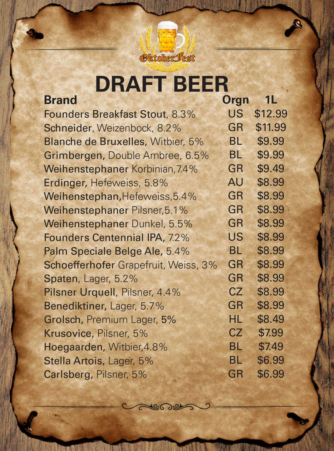 Oktoberfest Beer Store To Go Beer List